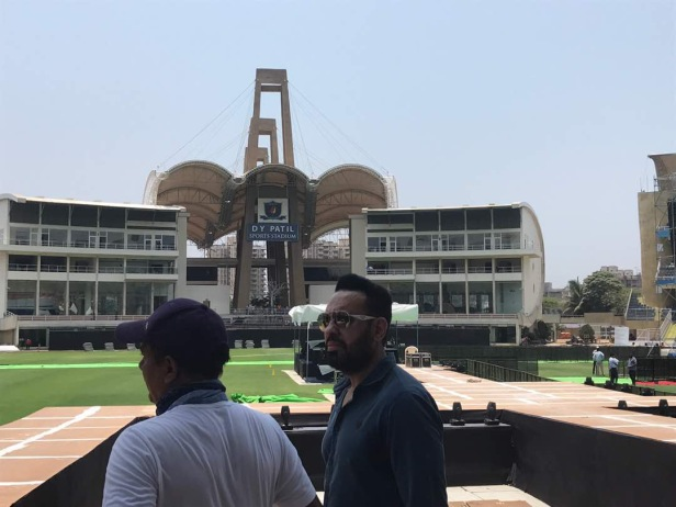 Shera (R) at a recce at the DY Patil Stadium for the Justin Bieber show