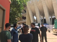 Shera and his team at a recce at the DY Patil Stadium for the Justin Bieber show