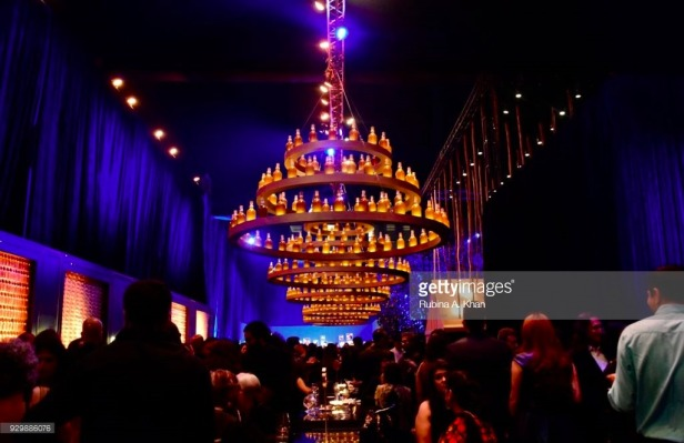 Gauri Khan's artisanal chandeliers made from empty Chivas 18 bottles for Alchemy