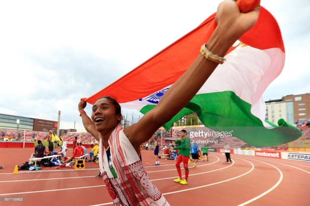 Hima Das at the IAAF U20 World Athletic Championship