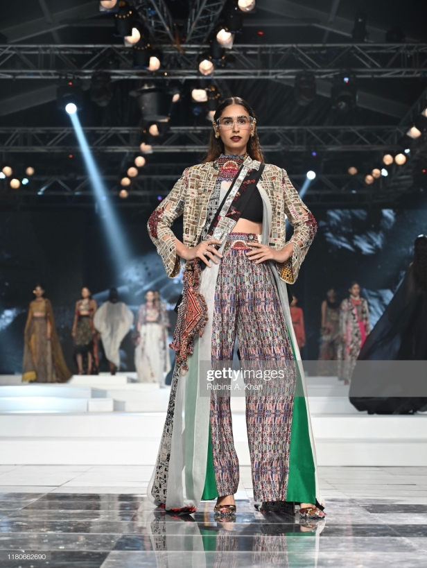 NEW DELHI, INDIA - OCTOBER 12: Anamika Khanna's collection at the Lotus Make-Up India Fashion Week Spring Summer 2020 Finale presented by the FDCI on October 12, 2019 in New Delhi, India. (Photo by Rubina A. Khan/Getty Images)