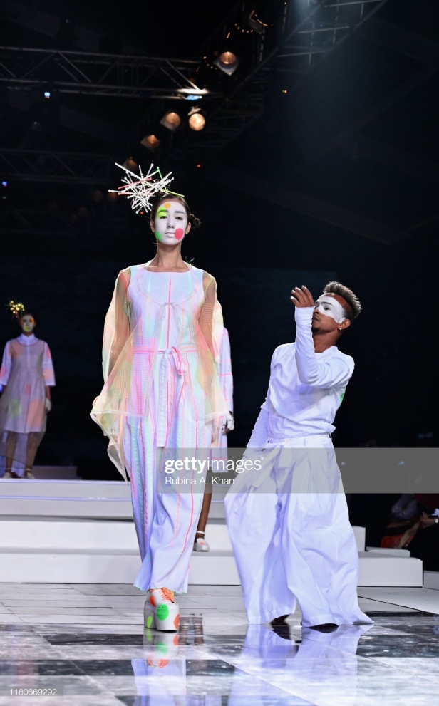 NEW DELHI, INDIA - OCTOBER 12: Rajesh Pratap Singh's collection at the Lotus Make-Up India Fashion Week's Spring Summer 2020 Finale presented by the FDCI on October 12, 2019 in New Delhi, India. (Photo by Rubina A. Khan/Getty Images)