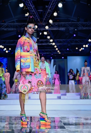 NEW DELHI, INDIA - OCTOBER 12: Manish Arora's collection at Lotus Make-Up India Fashion Week's Spring Summer 2020 Finale presented by the FDCI on October 12, 2019 in New Delhi, India. (Photo by Rubina A. Khan/Getty Images)