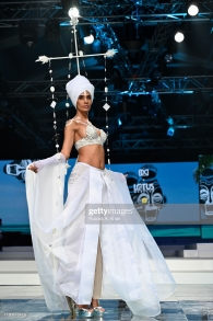 NEW DELHI, INDIA - OCTOBER 12: Schulen Fernandes for Wendell Rodricks' Zentangle collection at Lotus Make-Up India Fashion Week's Spring Summer 2020 Finale presented by the FDCI on October 12, 2019 in New Delhi, India. (Photo by Rubina A. Khan/Getty Images)
