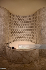 DOHA, QATAR - NOVEMBER 15: The marble bath tub designed in the seafaring theme of the Mandarin Oriental Doha on November 15, 2019 in Doha, Qatar. (Photo by Rubina A. Khan/Getty Images)