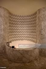 DOHA, QATAR - NOVEMBER 15: The marble bath tub designed in the seafaring theme of the Mandarin Oriental Doha on November 15, 2019 in Doha, Qatar. (Photo by Rubina A. Khan/Getty Images)