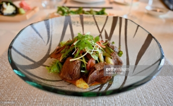 DOHA, QATAR - NOVEMBER 15: A Thai Beef Salad at Mosaic, the speciality nine-kitchen restaurant at the Mandarin Oriental, Doha on November 15, 2019 in Doha, Qatar. (Photo by Rubina A. Khan/Getty Images)