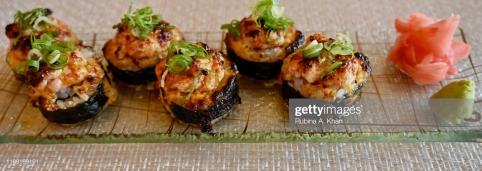 DOHA, QATAR - NOVEMBER 15: A Torched Tuna and Shrimp Roll at Mosaic, the speciality nine-kitchen restaurant at the Mandarin Oriental, Doha on November 15, 2019 in Doha, Qatar. (Photo by Rubina A. Khan/Getty Images)