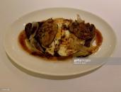 DOHA, QATAR - NOVEMBER 15: Fried Organic Eggs with Foie Gras and Truffle Sauce at Izu, the Mediterranean cuisine restaurant named after its Nigerian chef, Izu Ani, at the Mandarin Oriental, Doha on November 15, 2019 in Doha, Qatar. (Photo by Rubina A. Khan/Getty Images)