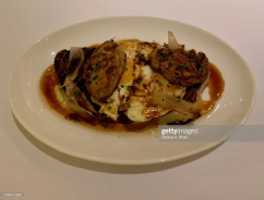 DOHA, QATAR - NOVEMBER 15: Fried Organic Eggs with Foie Gras and Truffle Sauce at Izu, the Mediterranean cuisine restaurant named after its Nigerian chef, Izu Ani, at the Mandarin Oriental, Doha on November 15, 2019 in Doha, Qatar. (Photo by Rubina A. Khan/Getty Images)