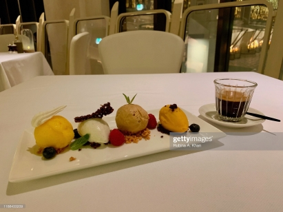 DOHA, QATAR - NOVEMBER 16: A Mandarin Sorbet, Vanilla Icecream, Hazelnut Icecream and a Mango Sorbet assortment at Izu, a Mediterranean cuisine restaurant named after its Nigerian chef, Izu Ani, at the Mandarin Oriental, Doha on November 16, 2019 in Doha, Qatar. (Photo by Rubina A. Khan/Getty Images)