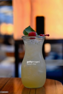 DOHA, QATAR - NOVEMBER 17: A Le Verger drink made with fresh basil leaves, lemon and apple juice at the outdoor terrace at Izu, a Mediterranean cuisine restaurant named after its Nigerian chef, Izu Ani, facing the Barahat Msheireb Town Square at the Mandarin Oriental, Doha on November 17, 2019 in Doha, Qatar. (Photo by Rubina A. Khan/Getty Images)
