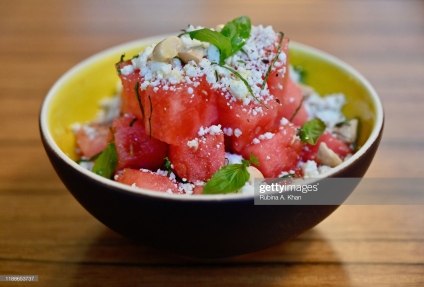 DOHA, QATAR - NOVEMBER 17: A Watermelon Salad with Feta Cheese and Orange Confit at the outdoor terrace at Izu, a Mediterranean cuisine restaurant named after its Nigerian chef, Izu Ani, facing the Barahat Msheireb Town Square at the Mandarin Oriental, Doha on November 17, 2019 in Doha, Qatar. (Photo by Rubina A. Khan/Getty Images)