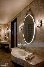 DOHA, QATAR - NOVEMBER 17: The bathroom mirrors hang by a rope, taking inspiration from the Arab dhows and the maritime and seafaring history of the region that resonates in the design theme of the Mandarin Oriental, Doha on November 17, 2019 in Doha, Qatar. (Photo by Rubina A. Khan/Getty Images)