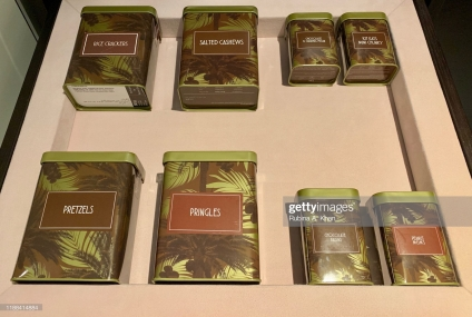 DOHA, QATAR: The mini-bar snacks especially packaged in tin boxes with palm trees at the Mandarin Oriental, Doha in Qatar