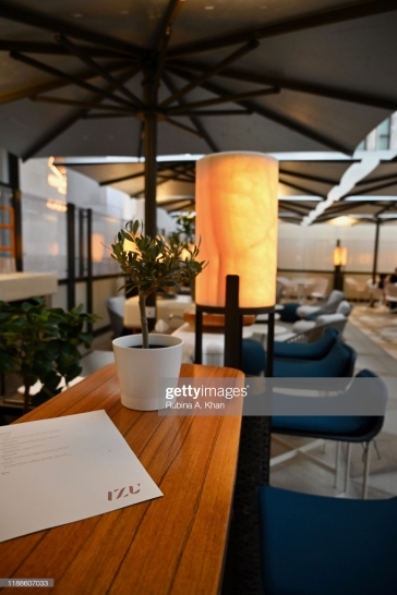 DOHA, QATAR - NOVEMBER 16: The outdoor terrace of Izu, the Mediterranean cuisine restaurant named after its Nigerian chef, Izu Ani, that faces the beautiful Barahat Msheireb town square at the Mandarin Oriental, Doha on November 16, 2019 in Doha, Qatar. (Photo by Rubina A. Khan/Getty Images)