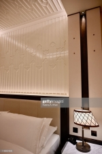 DOHA, QATAR - NOVEMBER 17: The Arab dhow-shaped lamps complement the fretwork sand dune panels, with a painted eggshell finish, designed by the David Collins Studio, on the ceilings and walls of the rooms and suites, that are the key design feature of the Mandarin Oriental, Doha on November 17, 2019 in Doha, Qatar. (Photo by Rubina A. Khan/Getty Images)