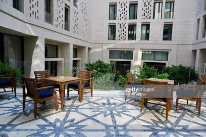 DOHA, QATAR: The alfresco courtyard of the Mandarin Lounge at the Mandarin Oriental, Doha in Qatar