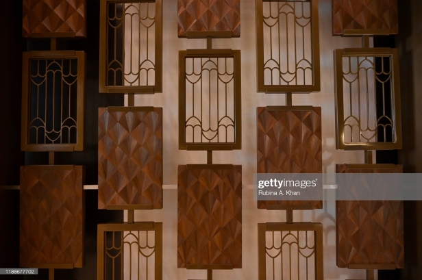 DOHA, QATAR - NOVEMBER 17: A closer view of the brass veil, influenced by the awnings and canopies of Arab dhows and ocean waves, designed by the David Collins Studio and Alexander Lamont's straw marquetry that adorn the lobby of the Mandarin Oriental, Doha on November 17, 2019 in Doha, Qatar. (Photo by Rubina A. Khan/Getty Images)