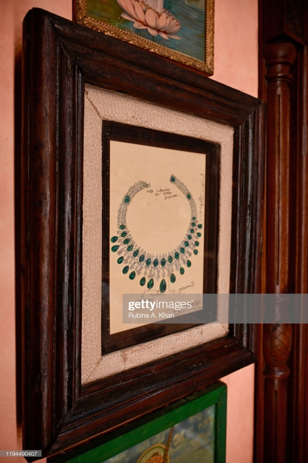 MUMBAI, INDIA - DECEMBER 17: Jewelry sketches by Indian couturier and jewelry designer, Sabyasachi, framed on the walls as conversational art at Sabyasachi Jewelry, his first flagship jewelry store in the country on December 17, 2019 in Mumbai, India. (Photo by Rubina A. Khan/Getty Images)